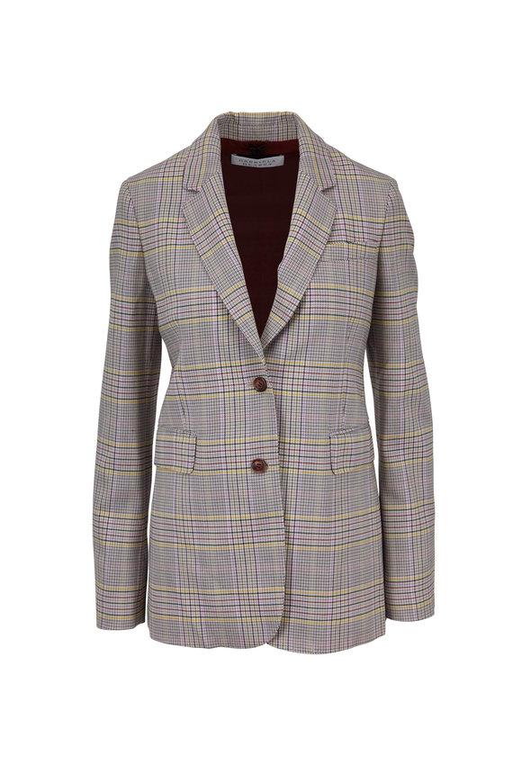 Gabriela Hearst Sophie Lavender Plaid Wool Two-Button Blazer