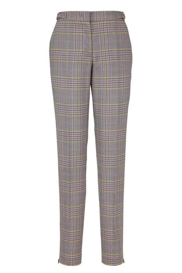 Gabriela Hearst Lisa Lavender Plaid Slim Pant