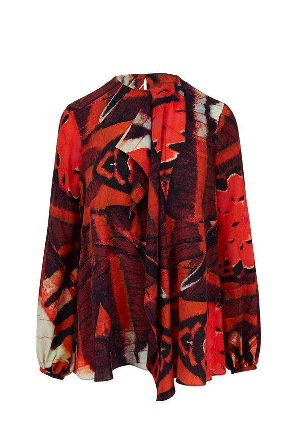Alexander McQueen Red & Black Silk Tiger Butterfly Printed Blouse