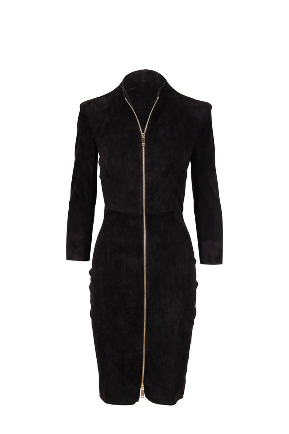 Jitrois Chiara Black Stretch Suede Full Zip Front Dress