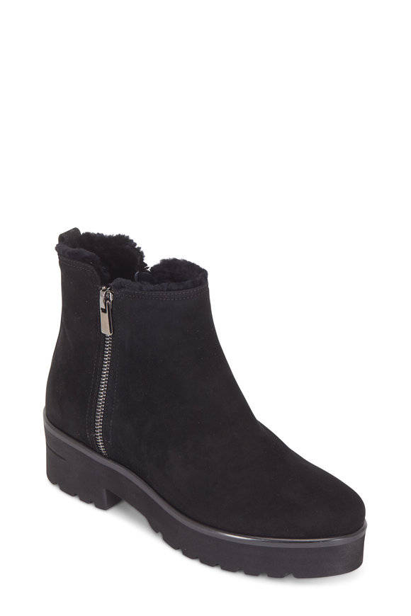 Pas de Rouge Nora Black Shearling Lined Weatherproof Short Boot