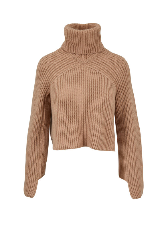 Rosetta Getty Camel Cashmere Cropped Turtleneck Sweater