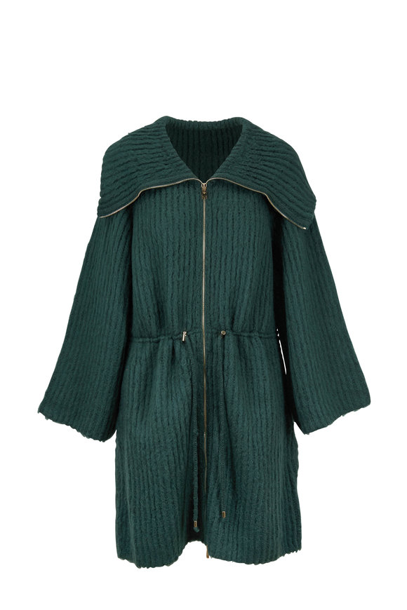 Emporio Armani Forest Green Drawstring Waist Sweater Coat