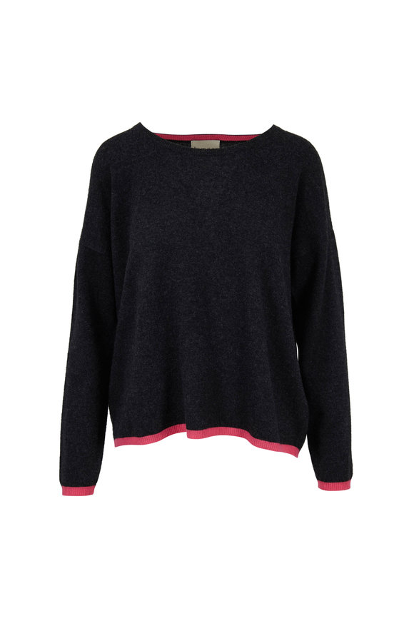 Jumper 1234 Charcoal & Pink Tipped Cashmere Crewneck Sweater