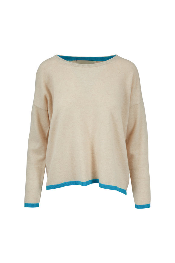 Jumper 1234 Oat & Aqua Tipped Cashmere Crewneck Sweater