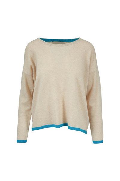 Jumper 1234 - Oat & Aqua Tipped Cashmere Crewneck Sweater