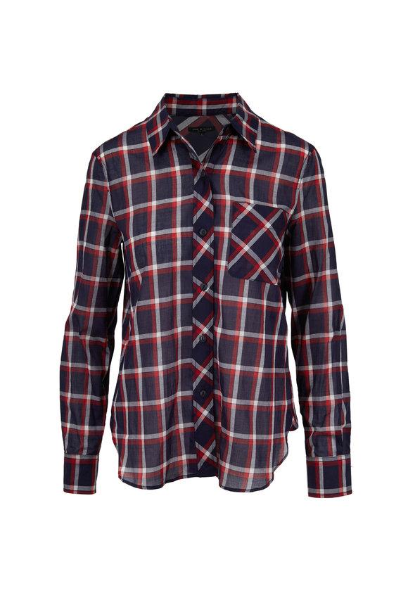 Rag & Bone Robbie Navy Cotton Plaid Shirt
