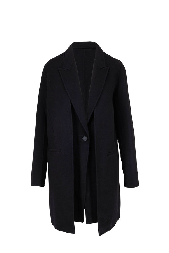 Rag & Bone Kaye Black Double-Faced Wool Layered Coat