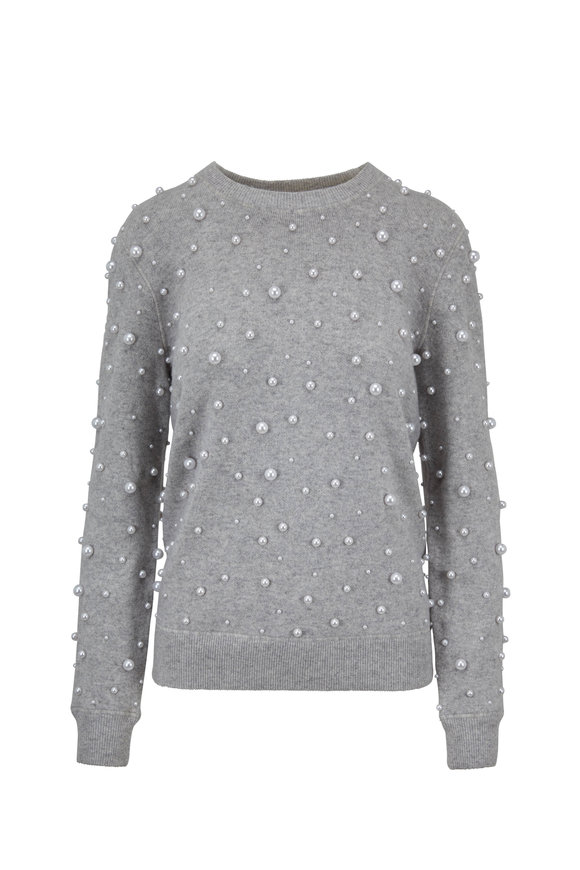 Michael Kors Collection Pearl Gray Pearl Embellished Sweatshirt