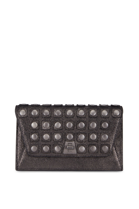 Akris Anouk Graphite Studded Mini Envelope Crossbody Bag