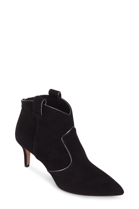 Veronica Beard Lexi Black Suede Ankle Bootie, 65mm