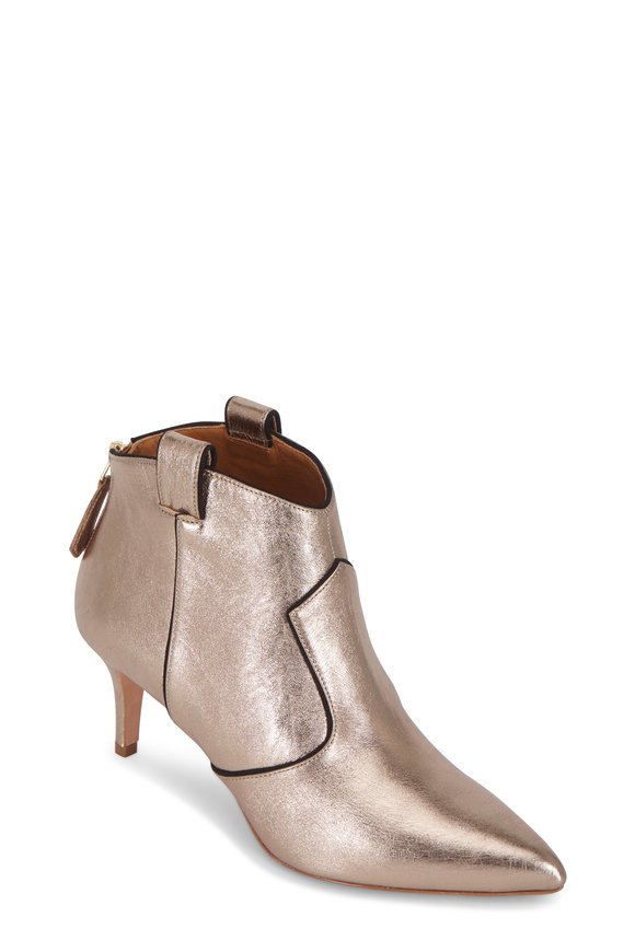 Veronica Beard Lexi Bronze Metallic Leather Ankle Bootie, 65mm