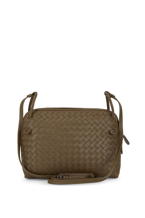 Bottega Veneta Pillow Olive Green Intrecciato Leather Crossbody