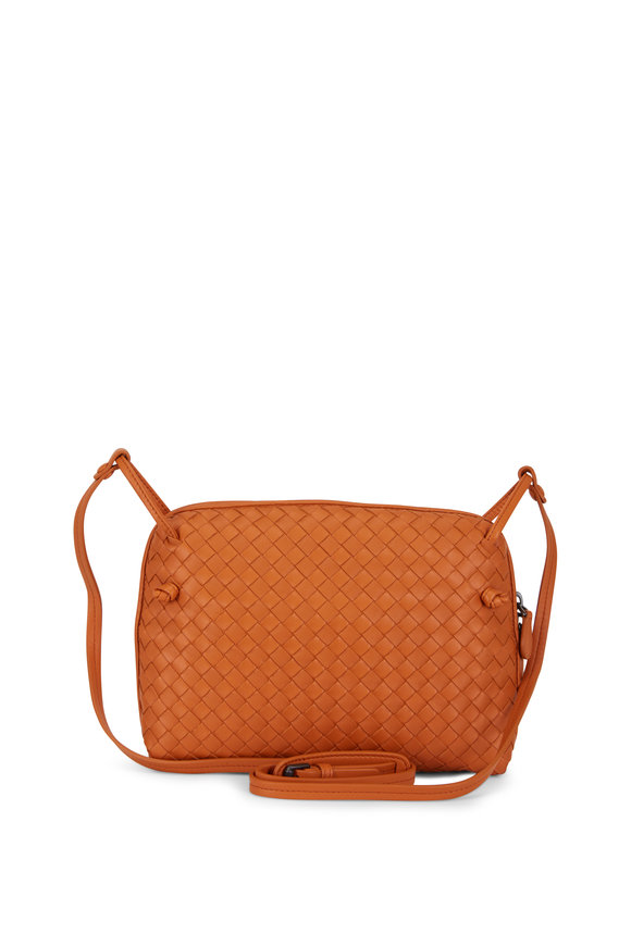Bottega Veneta Pillow Orange Intrecciato Leather Crossbody