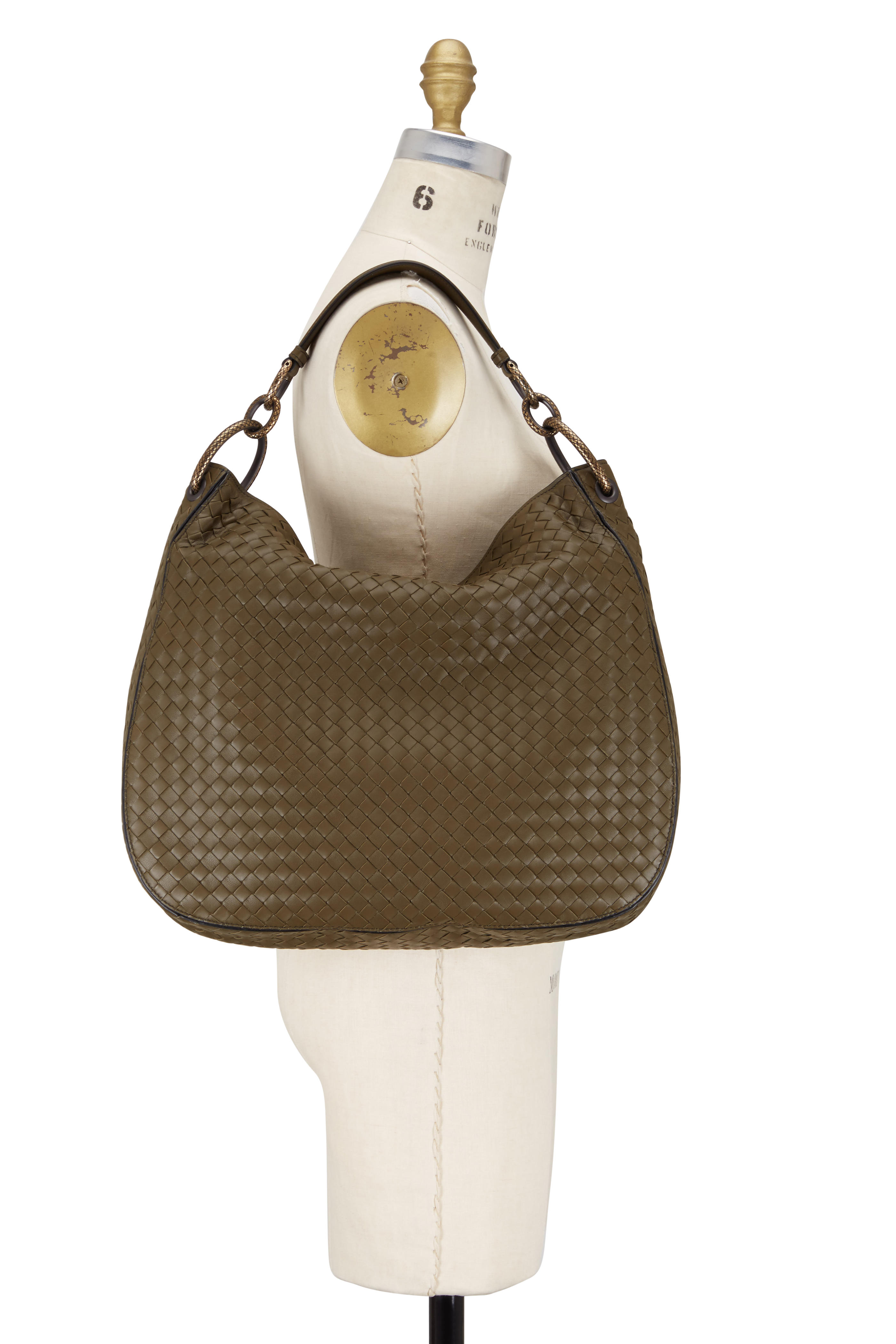0a1e13e4a5 Bottega Veneta - Olive Green Small Loop Intrecciato Woven Hobo Bag ...