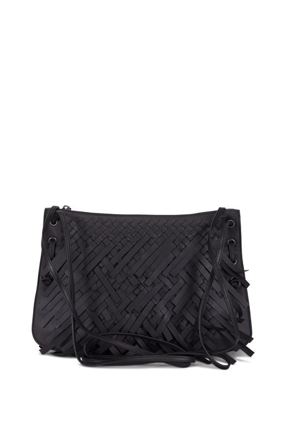 Bottega Veneta Black Intrecciato Leather Fringe Shoulder Bag