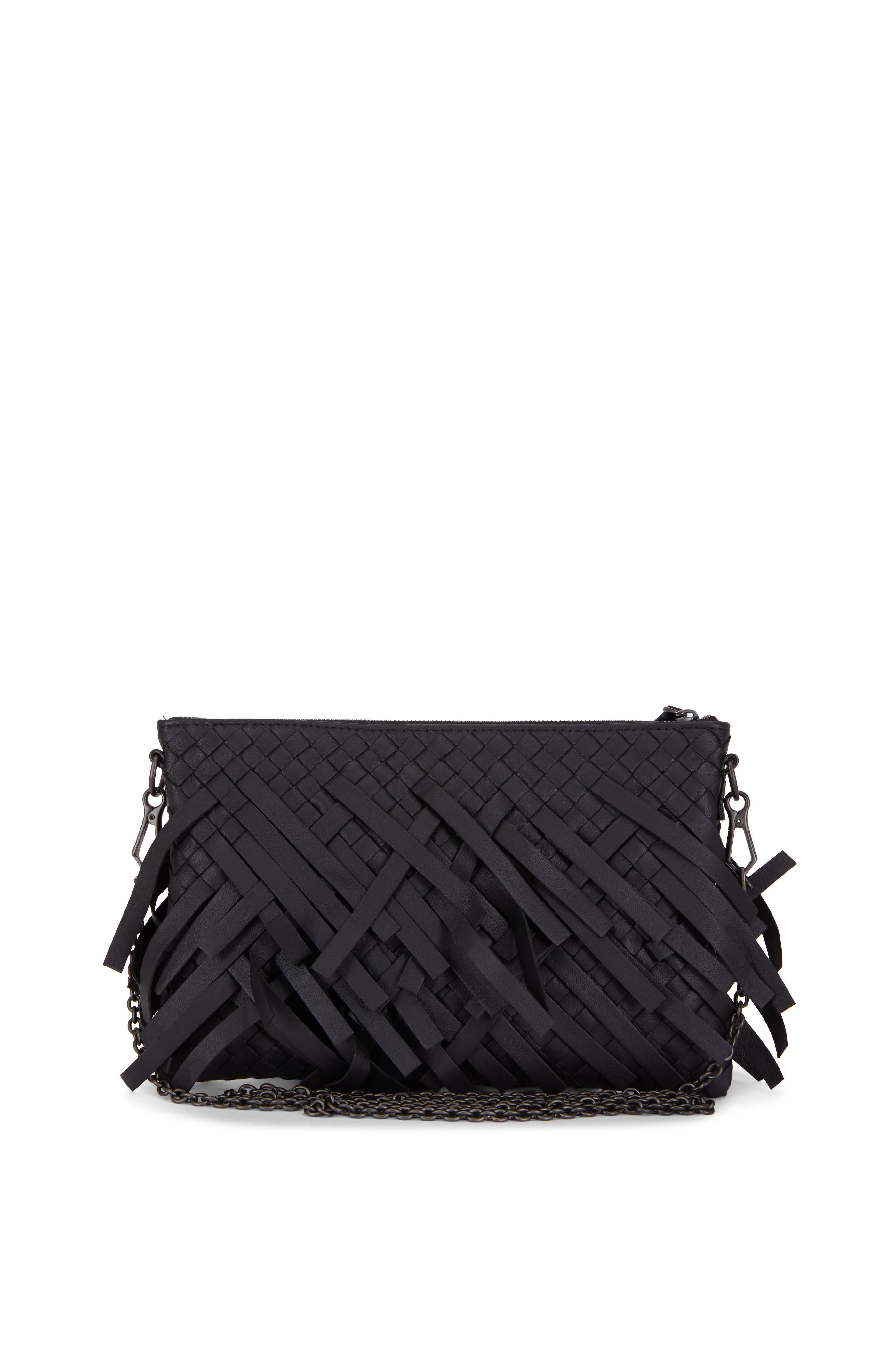 cf45886db313 Bottega Veneta - Black Intrecciato Leather Fringe Crossbody ...