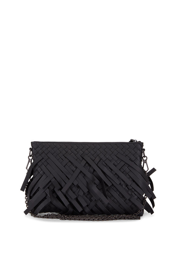 Bottega Veneta Black Intrecciato Leather Fringe Crossbody