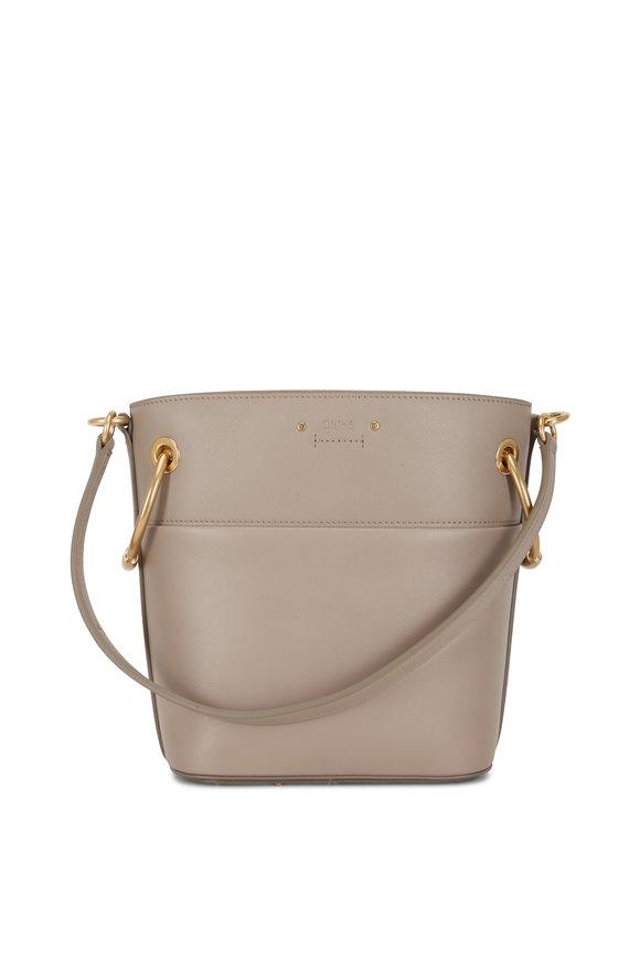 Chloé Motty Gray Leather Drawstring Bucket Bag