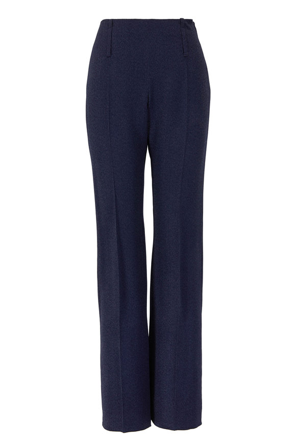Emporio Armani Navy Blue Wide Leg Side Zip Pant