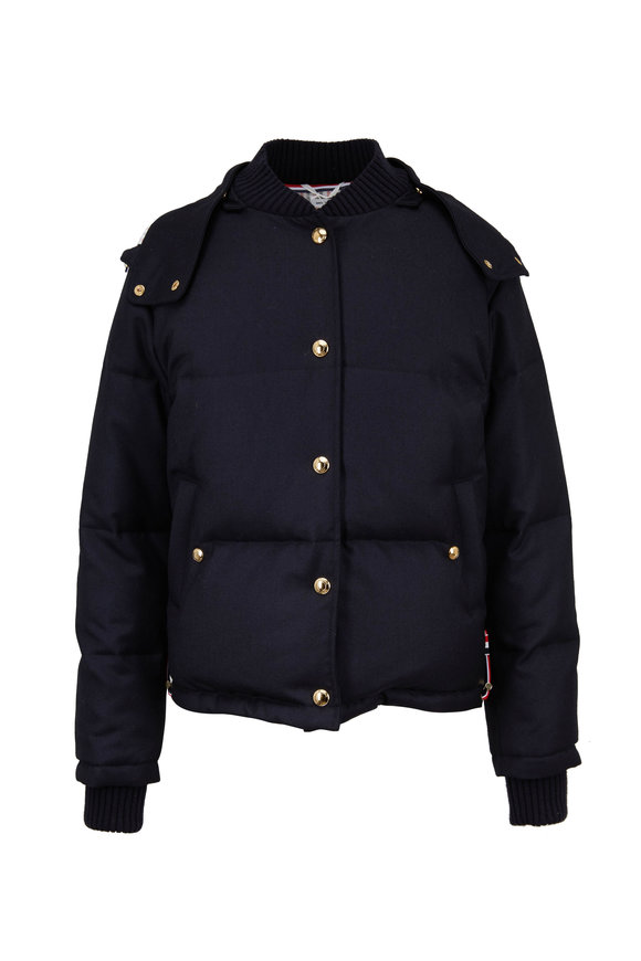 Thom Browne Navy Down Bomber Jacket