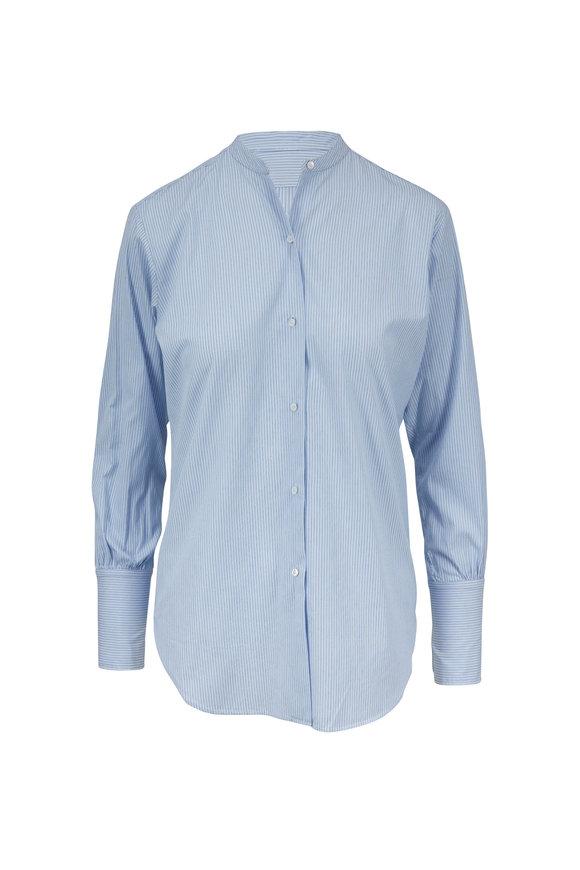 Nili Lotan Faye Blue Pinstripe Mandarin Collar Shirt