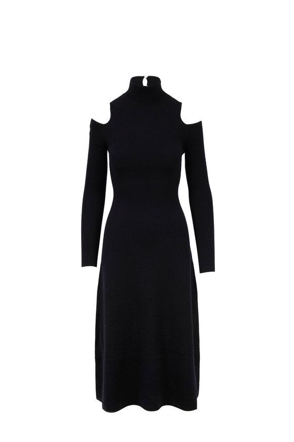 Gabriela Hearst Black Knit Open-Shoulder A-Line Dress