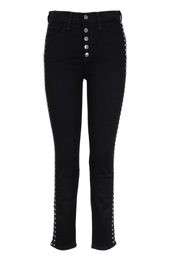 Veronica Beard Debbie Black Rhinestone Tuxedo Striped Jean