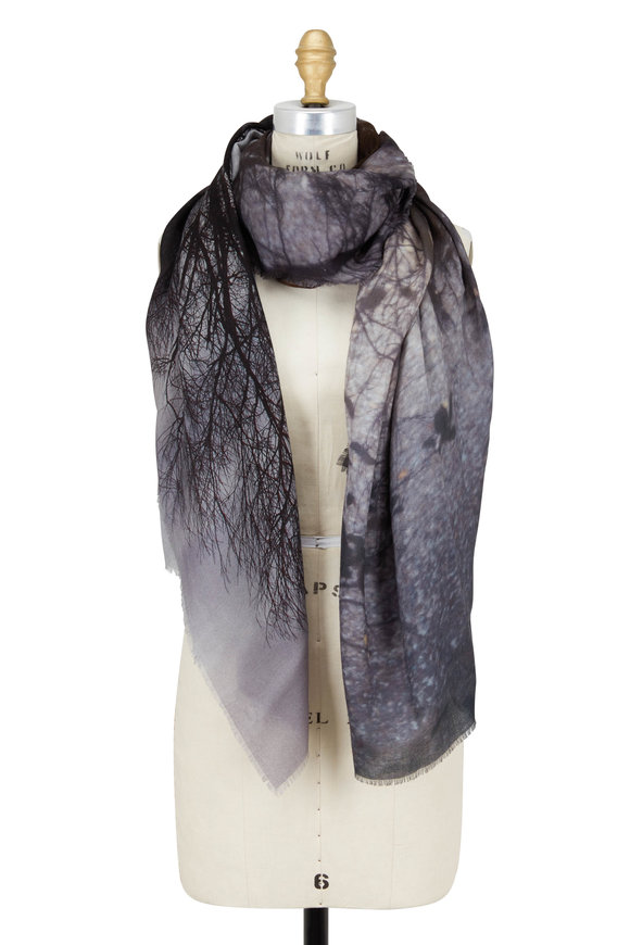 Faliero Sarti Lochness Gray Photo Printed Scarf