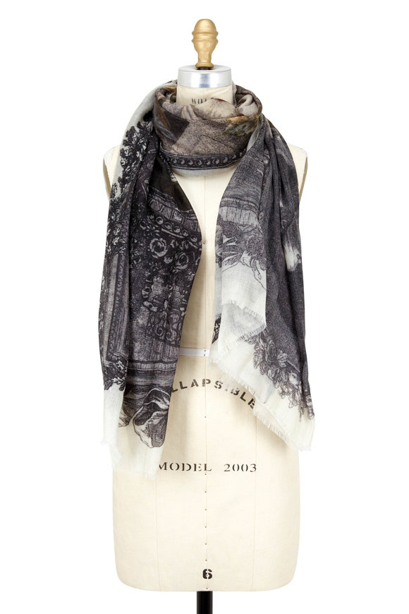 Faliero Sarti Gray Cashmere Amour Art Figures Printed Scarf