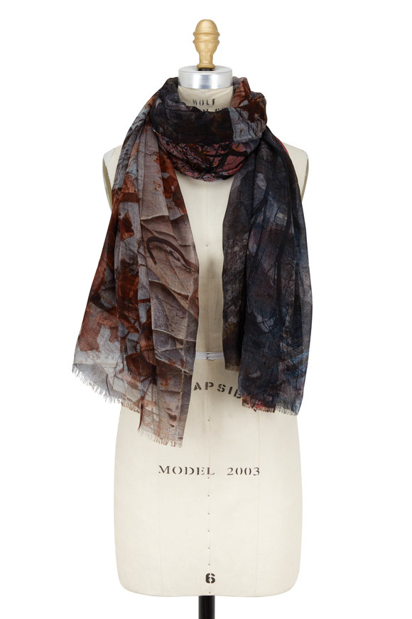 Faliero Sarti Multicolor Wool Leaves Printed Scarf