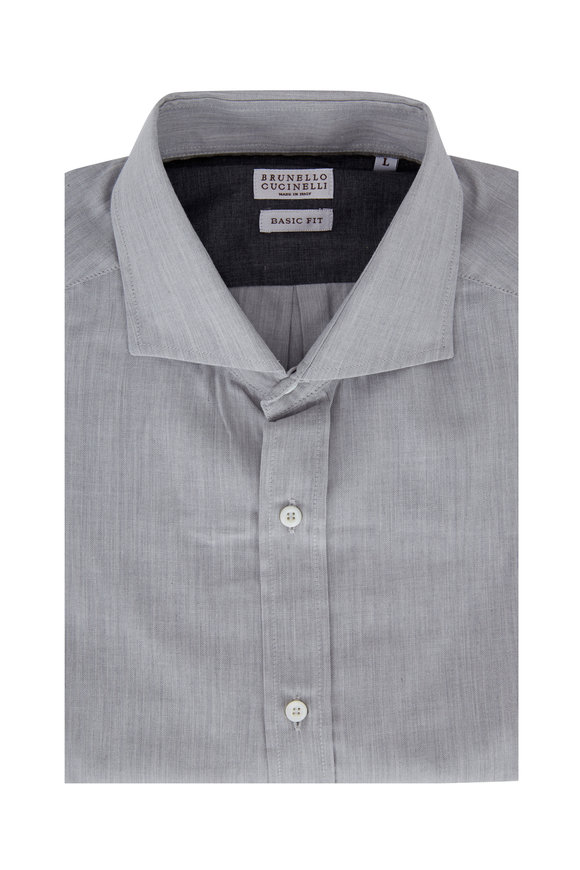 Brunello Cucinelli Light Gray Basic Fit Sport Shirt