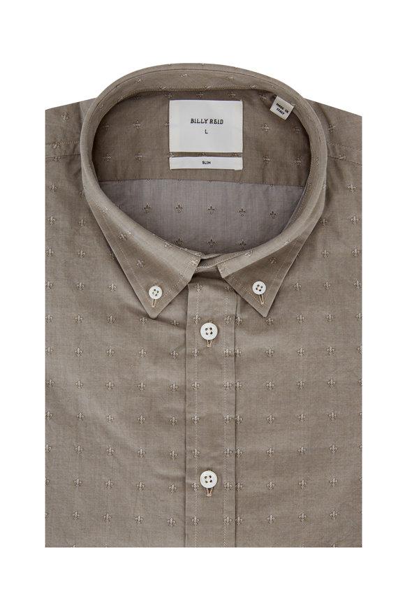 Billy Reid Murphy Sage Fleur De Lis Slim Sport Shirt