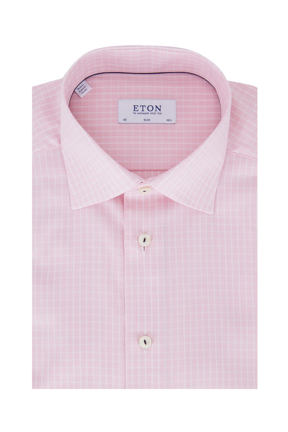 Eton Light Pink Tattersall Slim Fit Dress Shirt