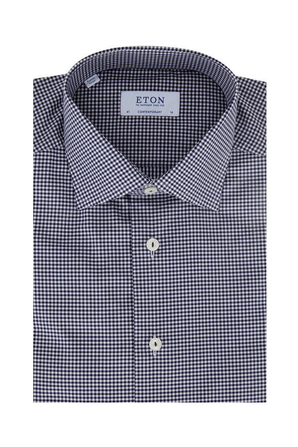 Eton Navy & White Check Contemporary Fit Dress Shirt