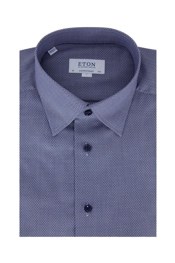 Eton Navy Blue Geometric Contemporary Fit Dress Shirt