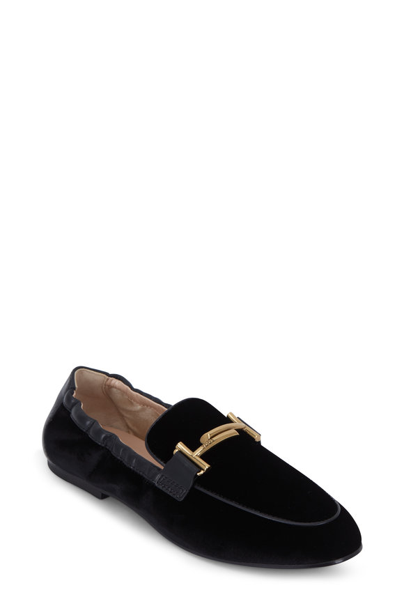 Tod's Black Velvet Gold Double T Loafer