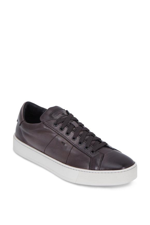 Santoni Banner Gray Leather Sneaker