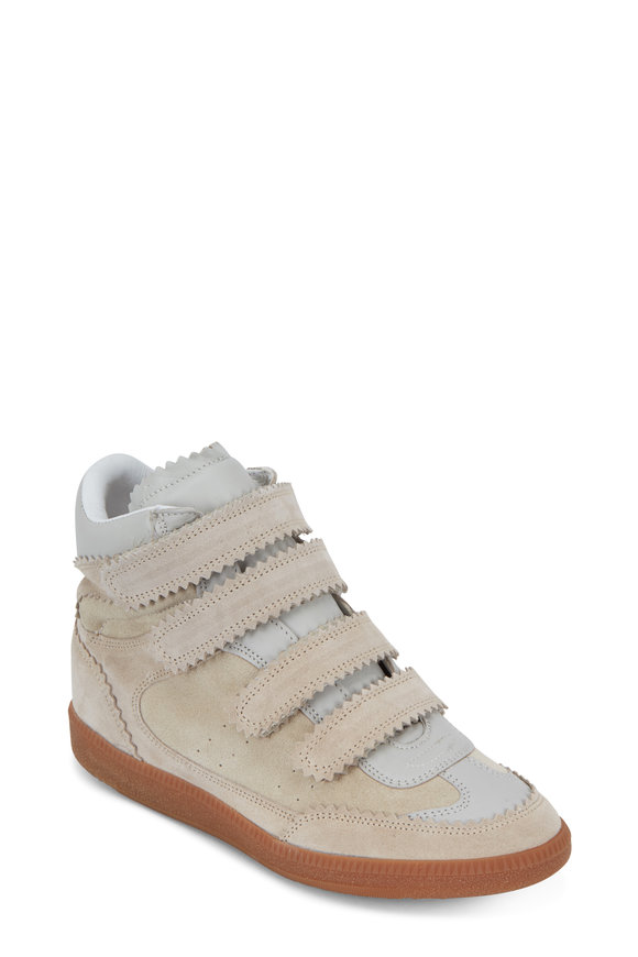 Isabel Marant Bilsy Ecru Suede & Leather High Top Sneaker