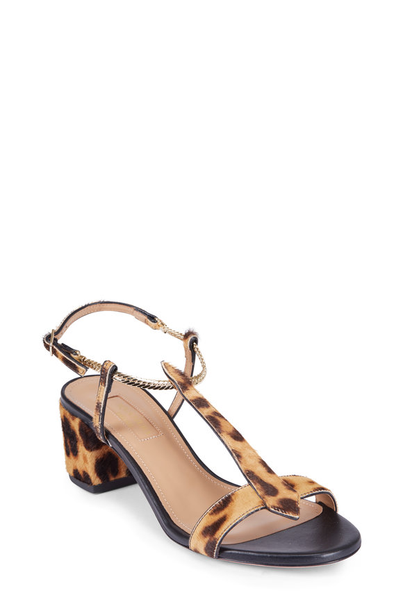 Aquazzura Vogue Leopard Calf-Leather Sandal, 50MM