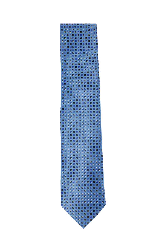 Eton Light Blue Geometric Printed Silk Necktie