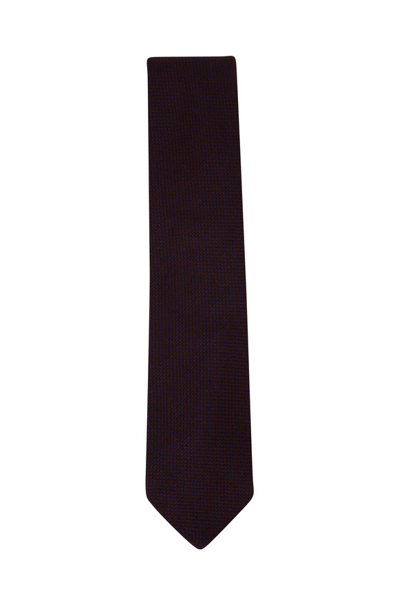 Eton Brown Textured Wool & Silk Necktie