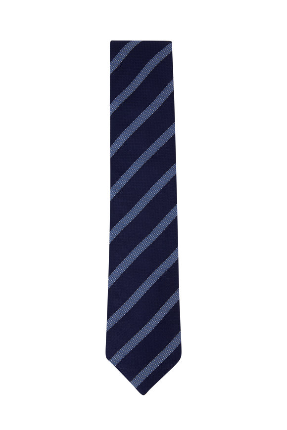 Eton Blue Striped Silk Necktie