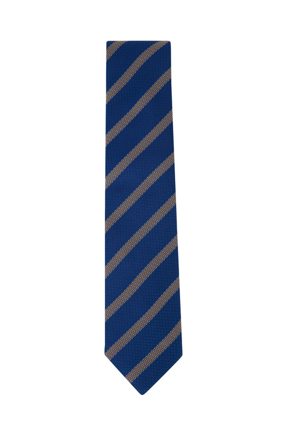 Eton Light Blue Striped Silk Necktie