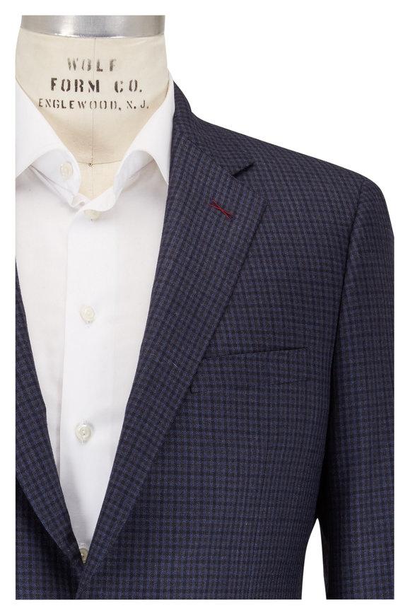 Samuelsohn Navy Blue Check Plaid Wool Sportcoat