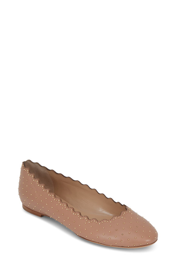Chloé Lauren Nude Gold Studded Leather Ballet Flat