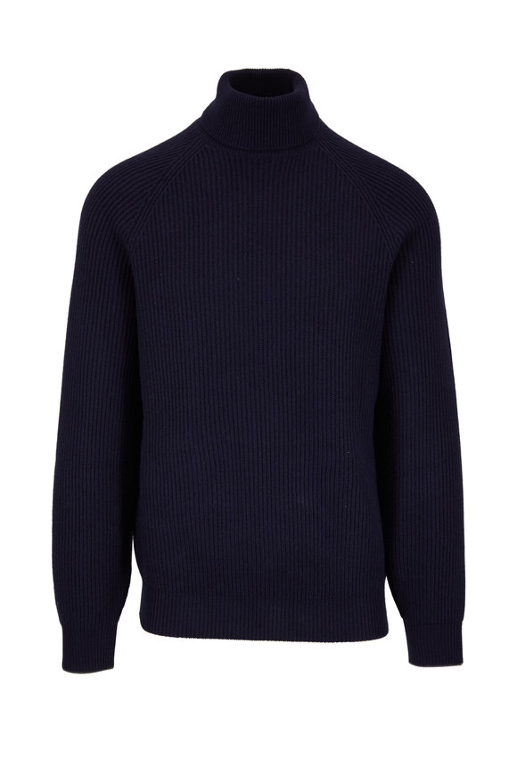 Brunello Cucinelli Navy Cashmere Ribbed Turtleneck Pullover