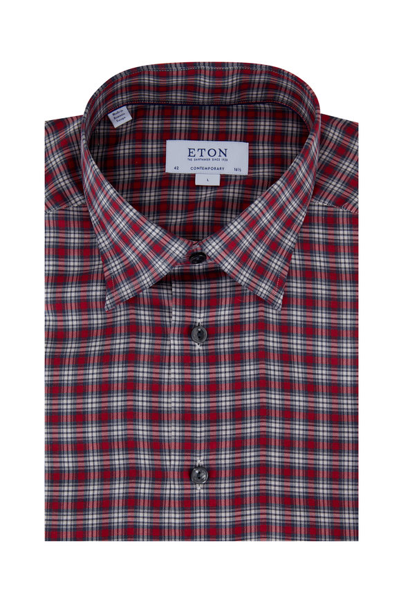 Eton Red Plaid Contemporary Fit Sport Shirt
