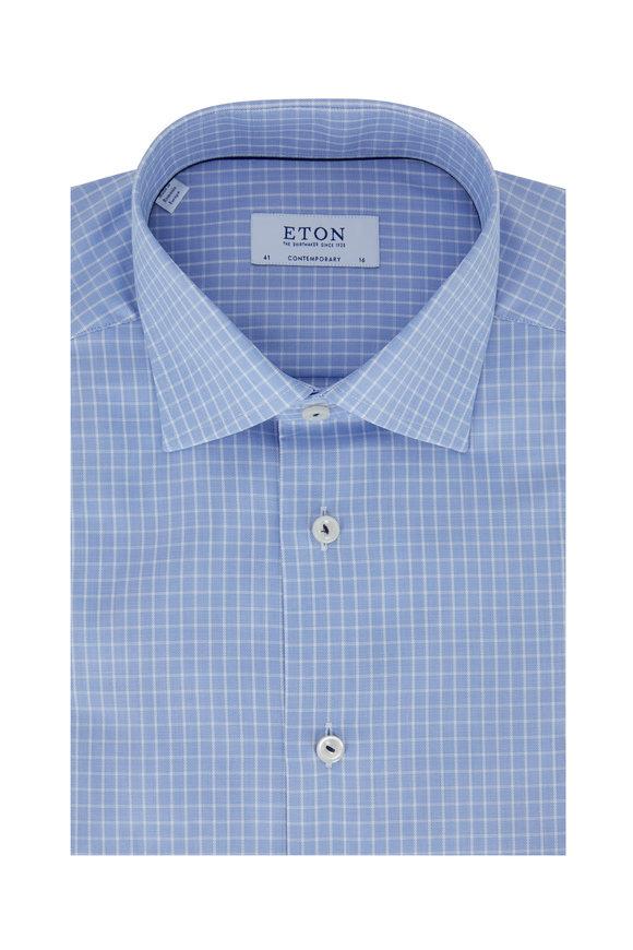 Eton Light Blue Tattersall Contemporary Fit Dress Shirt