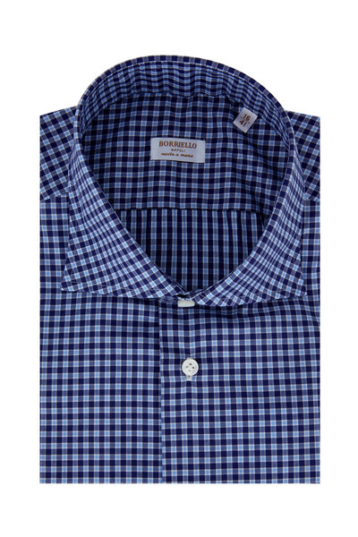 Borriello - Navy Blue Plaid Dress Shirt